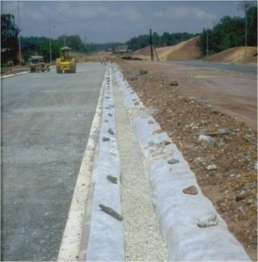 Geotextile in drain construction