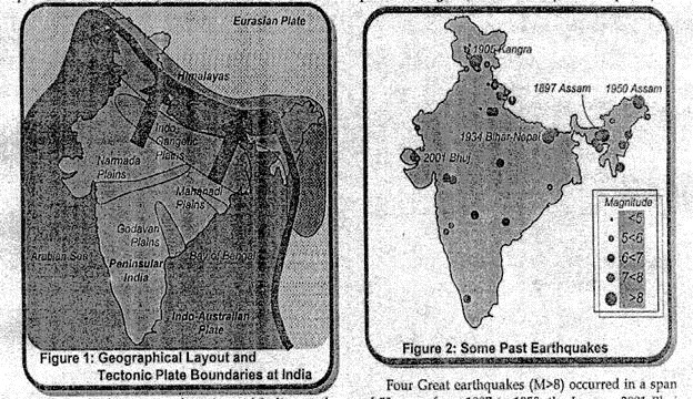 techtonic plates and past earthquakes in India