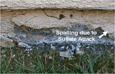 Spalling due sulfate attack.
