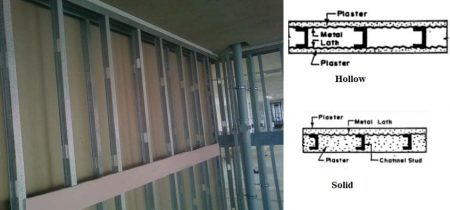 Metal lath partition wall