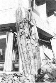 Brittle failure of a reinforced concrete column