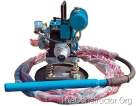 Immersion or needle concrete vibrators