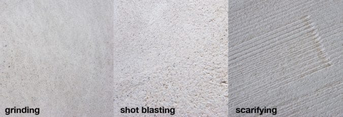 Surface texture after grinding, shot blasting and scarifying,
