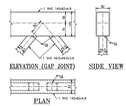 Gap Joint Between Hollow Sections