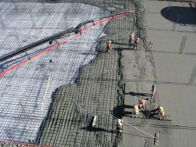 Fig.: Fast and Mass Concreting of a large floor Slab To avoid Cold Joints