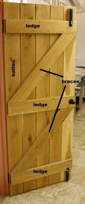 Types of Doors - Battened, ledged and braced door