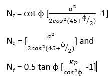 Bearing capacity factors calculation formula