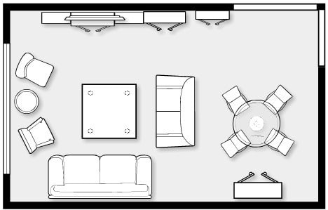 Standard size of rooms in residential building and their for Small size drawing room interior