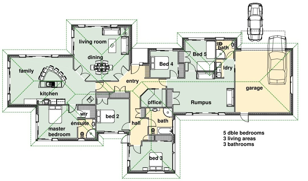 3 Bedroom Bungalow Layout