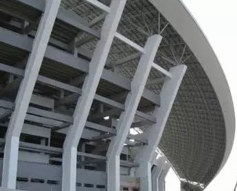 Inclined columns of a stadium