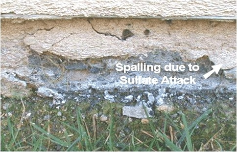 Spalling of Concrete due to Sulphate Attack