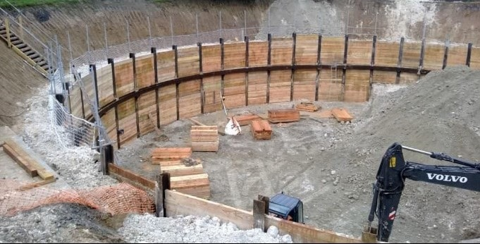 Excavation Support using Solider Piles and Lagging