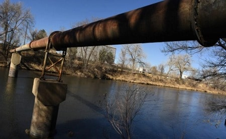 Sanitary Sewer Pipe Spanning Across a River