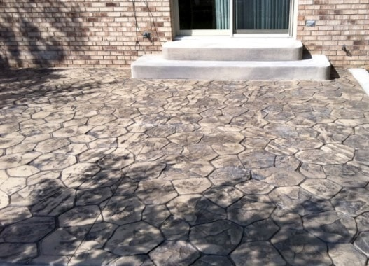 Stamped Concrete with Hexagonal Patterns
