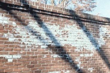Efflorescence on brick masonry structure