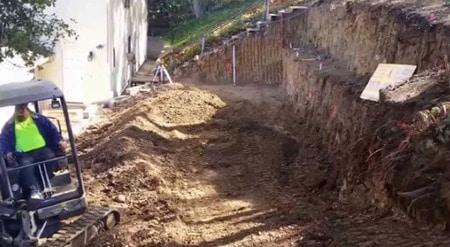 Excavation Work for Concrete Block Retaining walls
