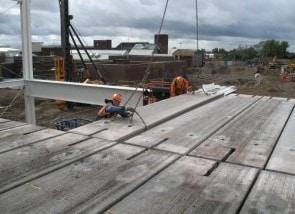 Precast Concrete Slab Placed on Structural Steel Frame