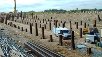 Steel Bearing Pile Driven into Ground