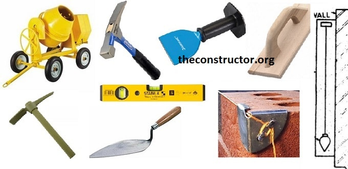 Building Test Instruments : Construction tools list with images for building