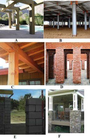 Types of Column; A-reinforced concrete, B- steel, C-timber, D-brick, E-block, and F-stone