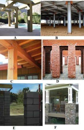 Типы столбцов;  A-железобетон, B-сталь, C-древесина, D-кирпич, E-блок и F-камень