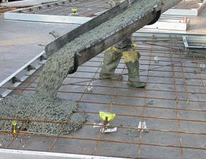 Concrete placement started from one end of the slab
