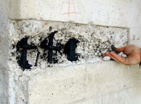 Cut Spalling Concrete, Remove Damaged Concrete, Brush Steel Bars, and Coat Steel Bars
