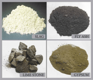 Types of materials used in blended cement.