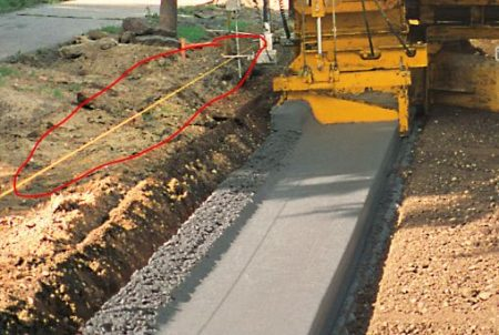 Yellow String Line Determine Trajectory of Concrete Gutter