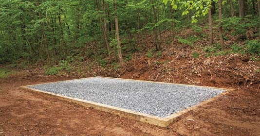 Gravel Layer Placed for Construction of Concrete Slab for a Shed