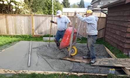 Pour Concrete for Slab of a Shed
