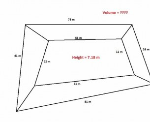How to calculate volume of quandrilateral / Irregular shape concrete?