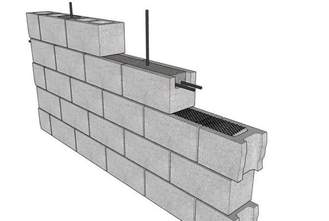 Wall Constructed Using Bond Beam Blocks