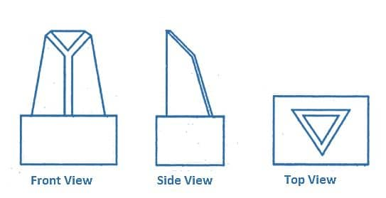 Dimensional Views of an Arrow Block