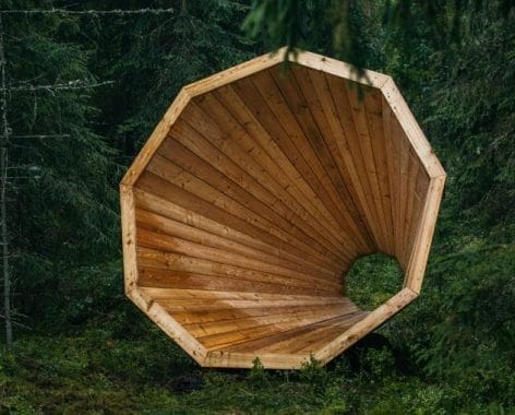 Giant Wooden Megaphone to Amplify Sound