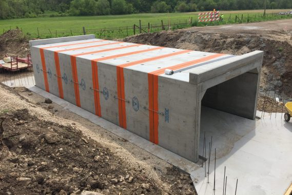 Culvert constructed using concrete.