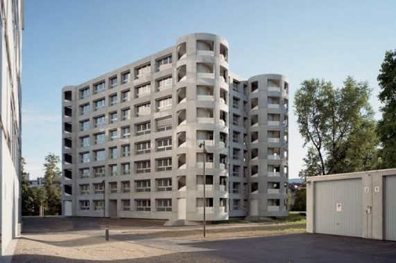 Use of concrete in the construction of residential buildings.