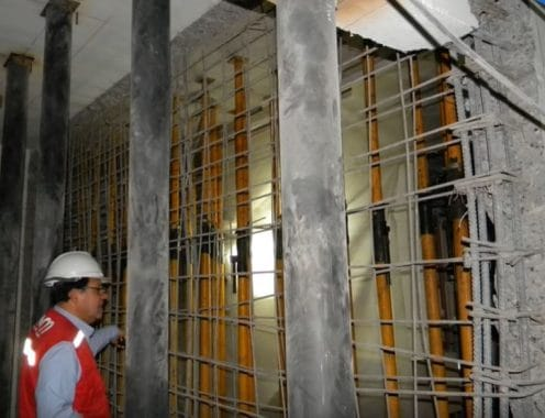 RC Wall Damaged Due to Earthquake is Demolished to Rebuild It After Shoring RC Slab