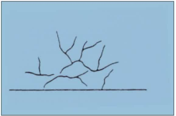 Sketch of surface appearance when concrete mixed for too long or the time of transport too long