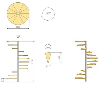 Spiral Staircase Sketch;Image Courtesy: Grand Design Stairs