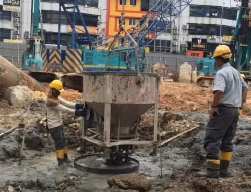 Filling the Top of the Pile with Concrete