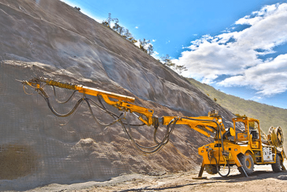 Application of shotcrete in slope stability.
