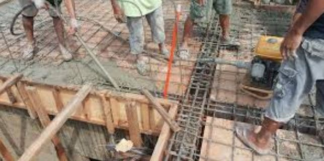 Place concrete of beams monolithic with slabs and then pour concrete slab